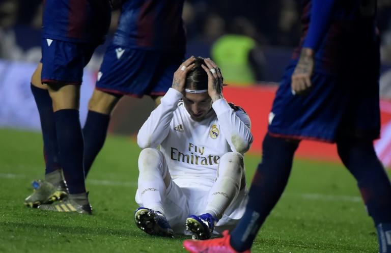 Le capitaine du Real Madrid Sergio Ramos après la défaite face à Levante, le 22 février 2020 à Valence