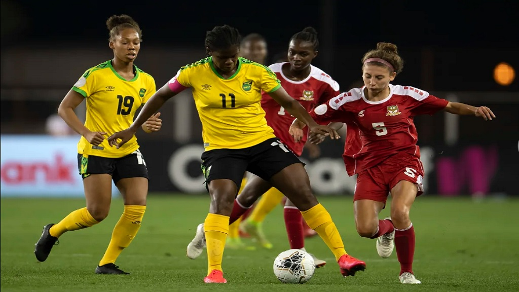 Khadija Shaw of Jamaica defends stoutly during their Group B fixture against Saint Kitts and Nevis in the 2020 Concacaf Women's Olympic Qualifying Championship on  Tuesday, February 4, 2020 at HEB Park in Edinburg, Texas.  Shaw scored a brace to help Jamaica to a 7-0 victory. (PHOTO: Concacaf.com).