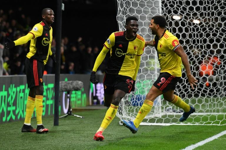Le milieu sénégalais de Watford Ismaïla Sarr (c) vient d'ouvrir la marque contre Liverpool, le 29 février 2020 à Watford