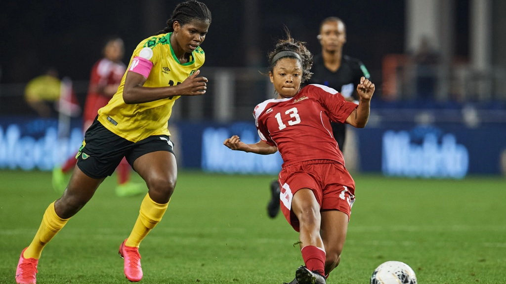 Khadija Shaw (left) scored a brace to help Jamaica end their 2020 Concacaf Women's Olympic Qualifying Championship on a high note with a 7-0 win over Saint Kitts and Nevis on Tuesday, February 4, 2020 at H-E-B Park in Edinburg, Texas. (PHOTO: Concacaf.com).