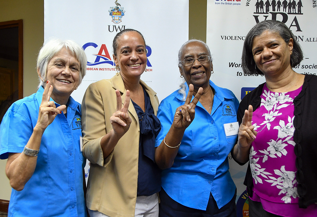 From left: Dr. Elizabeth Ward, chair of the Violence Prevention Alliance (VPA); Dr. Kim Scott, programme director of the Child Resiliency Programme ; Dr. Deanna Ashley, executive director of the VPA and Professor Susan Walker, director of the Caribbean Institute for Health Research promoting peace. They were attending a VPA Forum on 'Pathways to the Prevention of Violence: Examining the Evidence'.