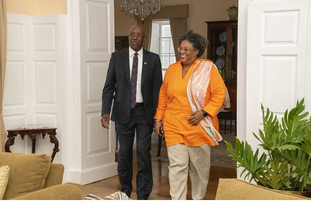 Prime Minister Dr Keith Rowley (left), Barbados Prime Minister Mia Mottley ahead of the signing of a unitization agreement on Tuesday.