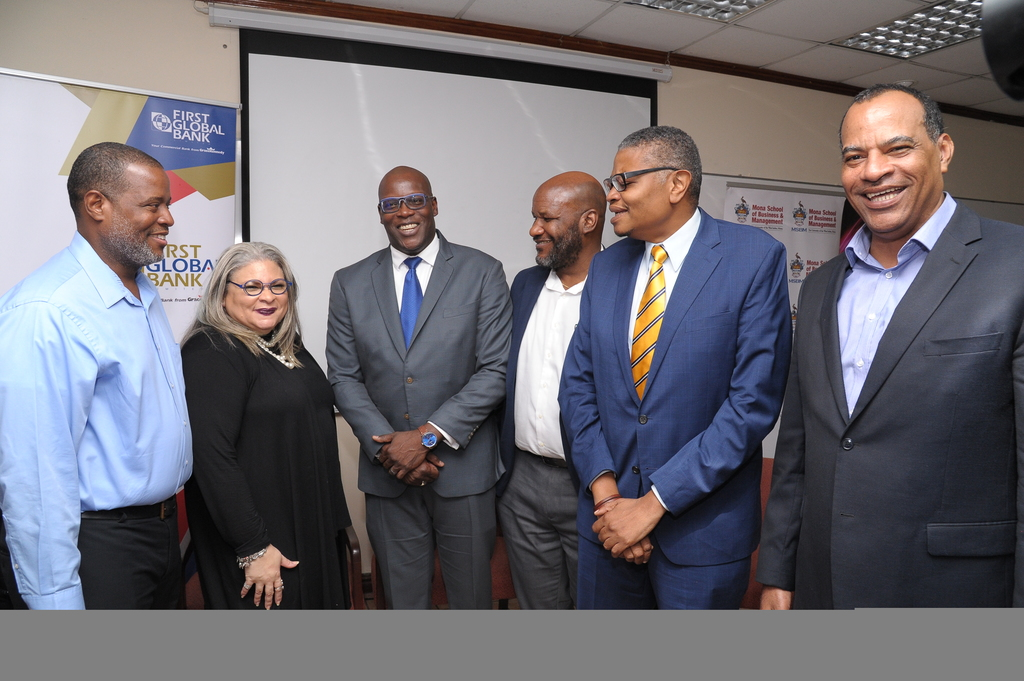From left: Rohan Pottinger, Chief Technology Officer, Digicel Jamaica; Dr Maria Myers-Hamilton, Managing Director, Spectrum Management Authority; Stephen Price, Country Manager, FLOW Jamaica; Dr. Maurice McNaughton Director, Centre of Excellence for MSBM; Dr David McBean, Executive Director of MSBM and Dr Paul Aiken Senior Lecturer and General Manager at Mona-Tech Engineering Services Limited.