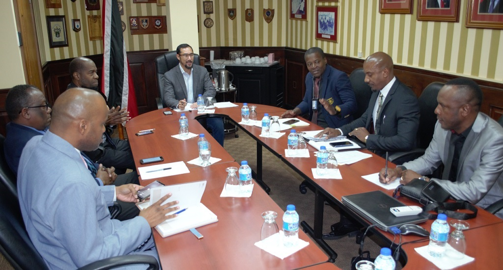 National Security Minister (centre) holds meeting with members of the Police Service Social and Welfare Association (TTPSSWA)