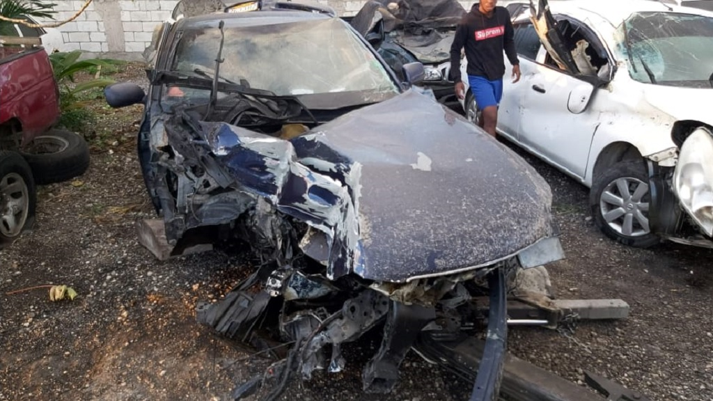 A Toyota Mark X motorcar after a collision on Barnett Street in Montego Bay, St James last month.