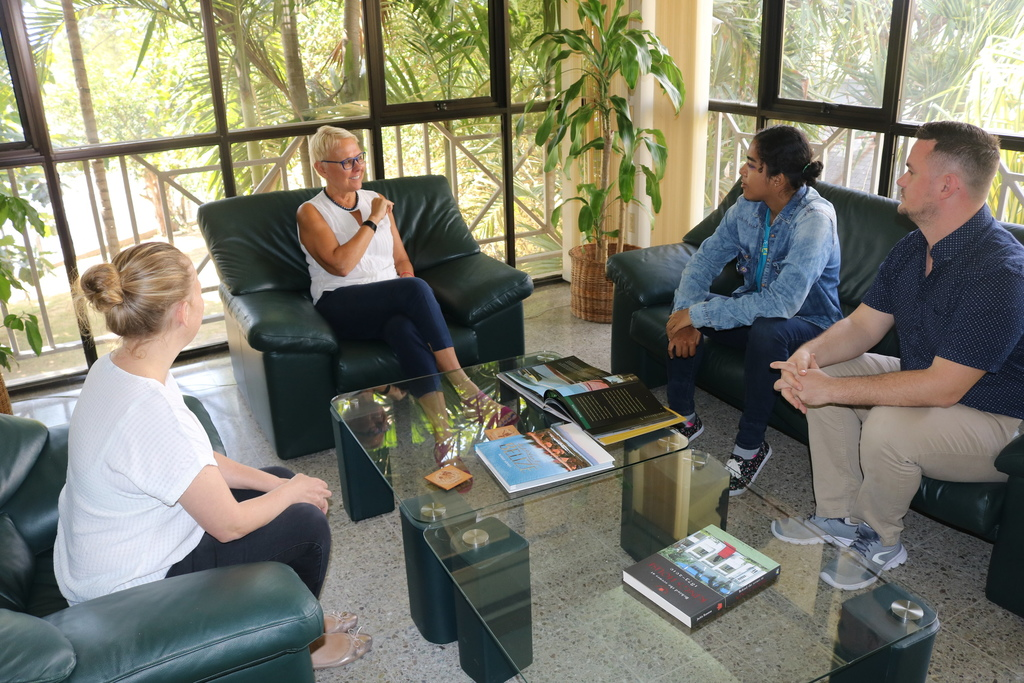 EU Ambassador Malgorzata Wasilewska (2nd left) met with vloggers Jeana Lindo (3rd left) and Daniel James on February 3, 2020 at her Manor Park offices ahead of the duo's one-month visit to 8 EU projects across Jamaica. Looking on is Virginie Andre, from the EU's Cooperation Section.