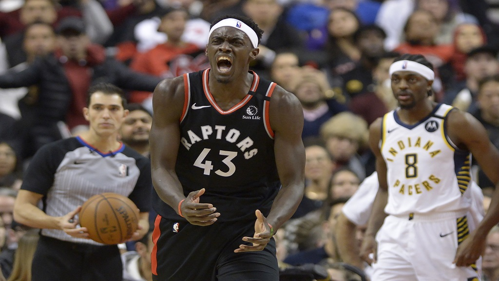 Toronto Raptors forward Pascal Siakam (43) reacts after a non-call during the second half of an NBA basketball game, Wednesday, Feb. 5, 2020 in Toronto. (Nathan Denette/The Canadian Press via AP).