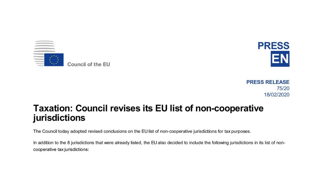 Press release from the EU Council