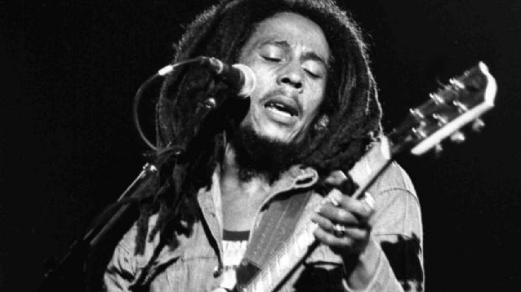 AP photo of reggae legend Bob Marley performing in Paris.