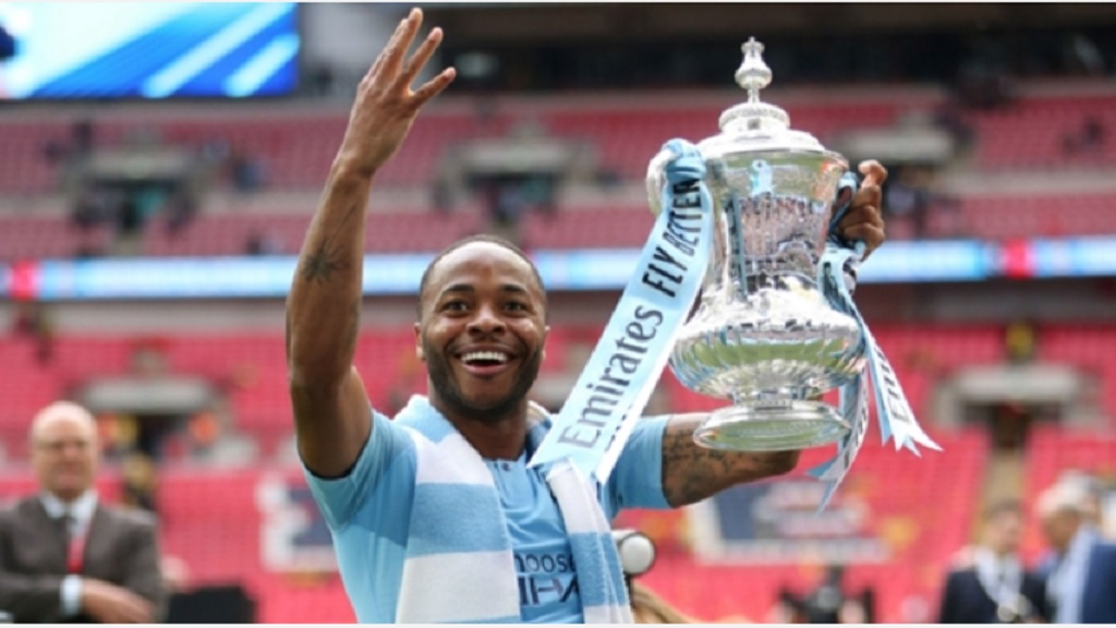 Raheem Sterling with the FA Cup.