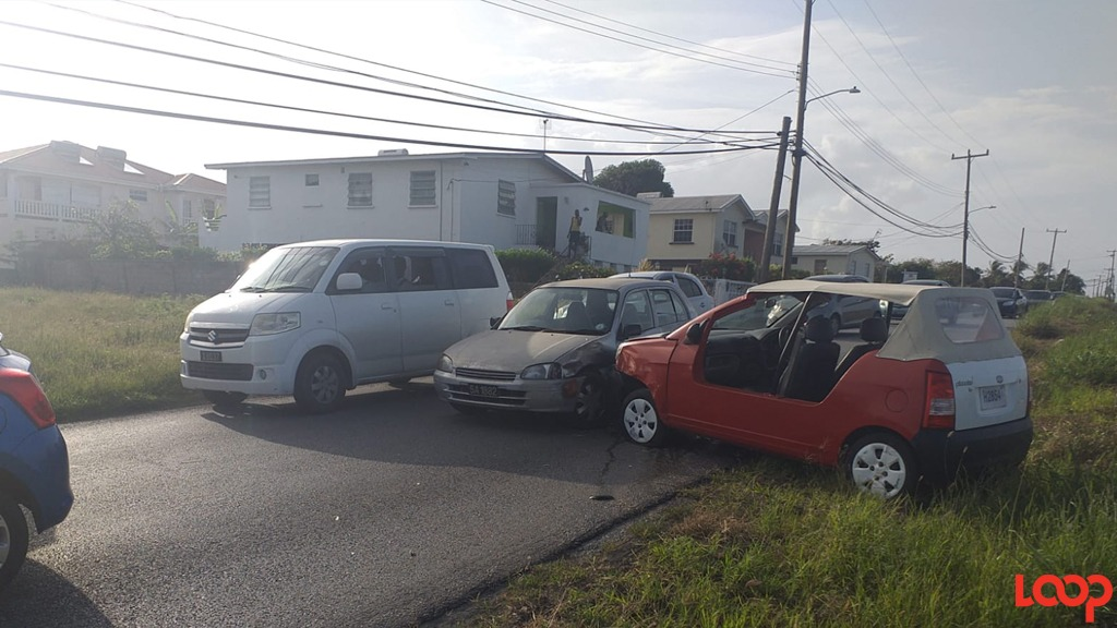 Monday morning accident at the Mangrove junction in St Philip.