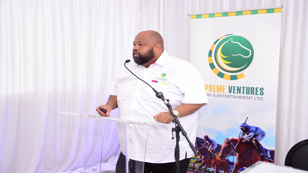 Solomon Sharpe, chairman at Supreme Ventures Racing and Entertainment Limited (SVREL), makes a presentation during a Press Conference at  Caymanas Park on February 19, 2020.
