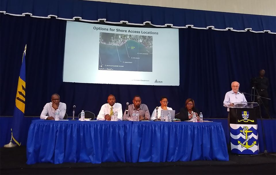 The panel at the recently held town hall meeting for a proposed cruise facility in Speightstown