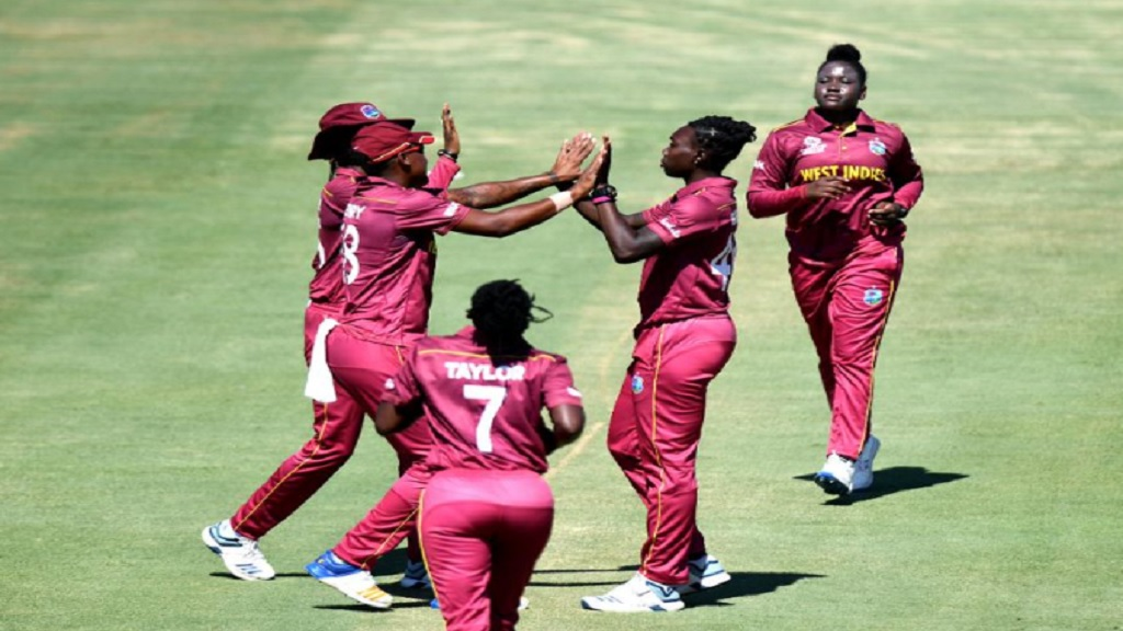 West Indies Women celebrate a wicket against India during their final warm up match before the start of the ICC Women's T20 World Cup.
