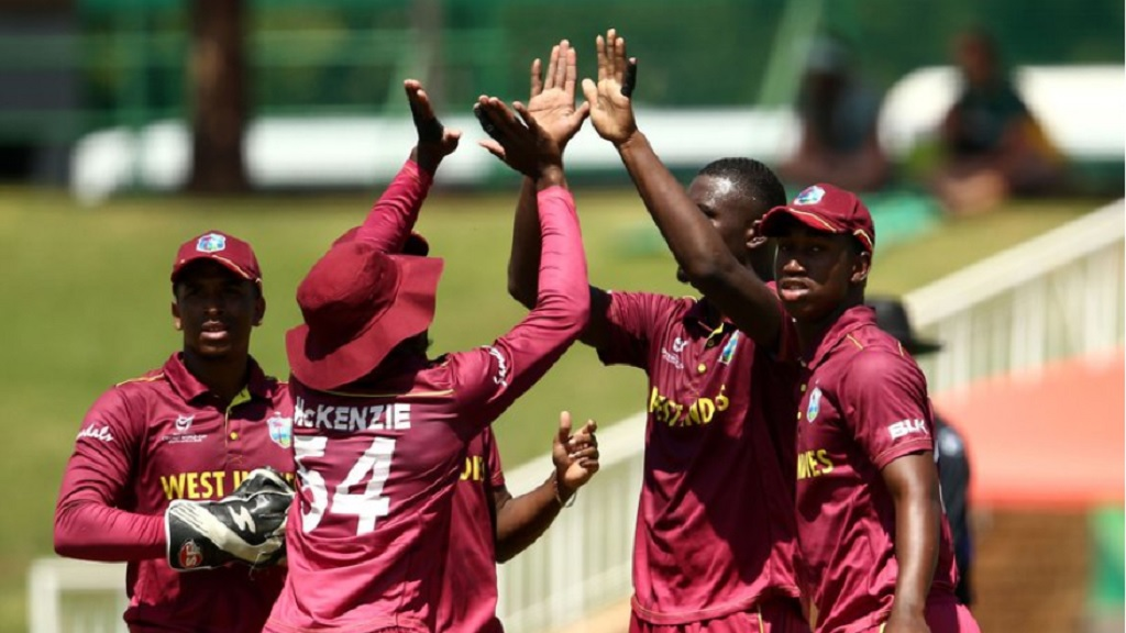 West Indies players celebrate a wicket during their  International Cricket Council (ICC) Under-19 World Cup playoff match against hosts South Africa   in Potchefstroom on Saturday, February 1, 2020.