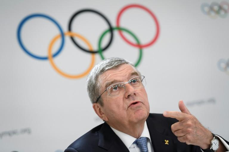 Le président du Comité international olympique Thomas Bach lors de la conférence de presse concluant la session du CIO à Lausanne le 10 janvier 2020.