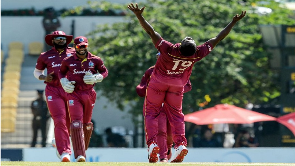 West Indies fast bowler Sheldon Cottrell celebrates one of his four wickets against Sri Lanka in the second match of the three-match ODI series on Wednesday, February 26, 2020 in in Hambantota.