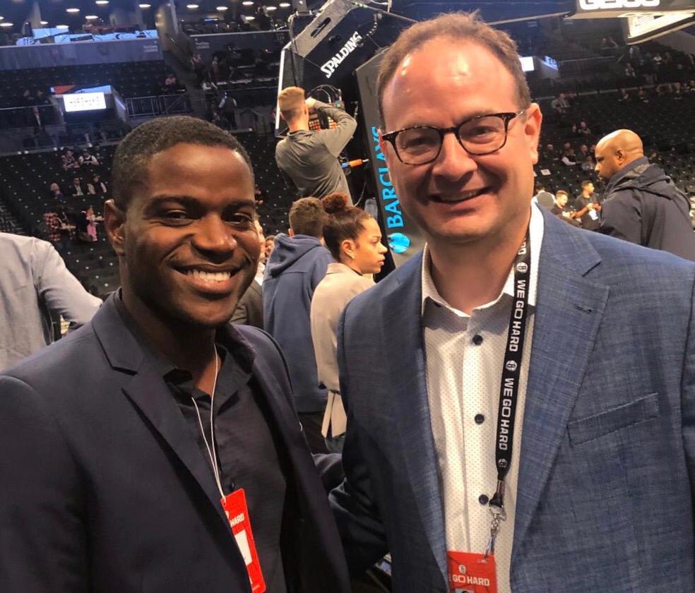 Paul Junior Prudent et le célèbre chroniqueur sportif de la chaîne américaine ESPN, Adrian Wojnarowski (WOJ). Crédit photo: PJP