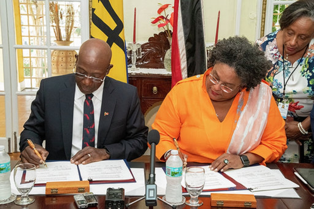 Prime Minister Dr Keith Rowley (left), Barbados Prime Minister Mia Amor Mottley.