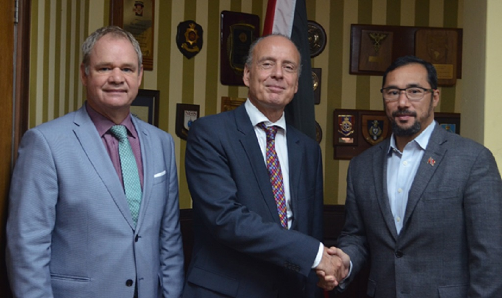 Minister of National Security Stuart Young (first from right) meets with Netherlands Ambassador to Trinidad and Tobago Sándor Marnix Raphaël Varga van Kibéd en Makfalva (centre) and Deputy Head of Mission of the Embassy of the Kingdom of the Netherlands in Trinidad and Tobago Cor Stouten (first from left).