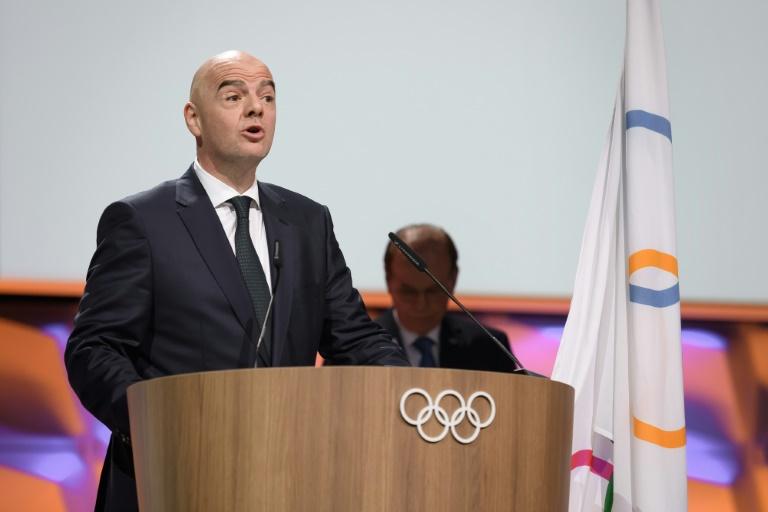 Le patron de la Fifa Gianni Infantino, s'exprimant ici devant la session du CIO, le 10 janvier 2020, veut une CAN organisée tous les 4 ans