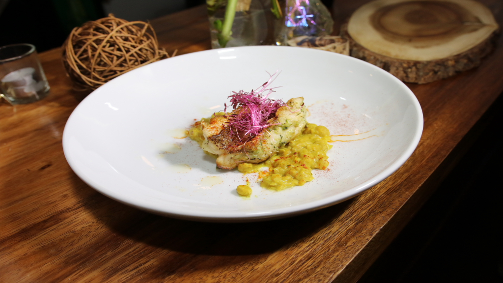 The more favoured of the two entrées, Chef Shea Stewart's Coriander-spiced broiled snapper.