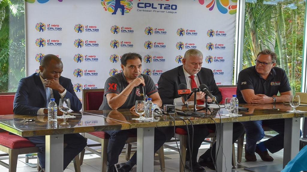 (From left) Dominic Fedee, St Lucia Minister of Tourism, Information and Broadcasting; Mohit Burman, representing the new owners of St Lucia Zouks; Allen Chastanet, Prime Minister of St Lucia and Pete Russell, Chief Operating Officer of Hero Caribbean Premier League at a press conference to announce the proposed sale of the St Lucia Zouks to K.P.H Dream Cricket Pvt Limited.