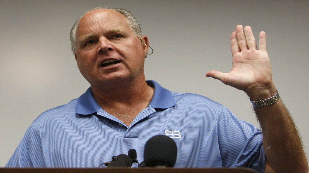 In this January 1, 2010 file photo, conservative talk show host Rush Limbaugh speaks during a news conference at The Queen's Medical Center in Honolulu.  (AP Photo/Chris Carlson, File)