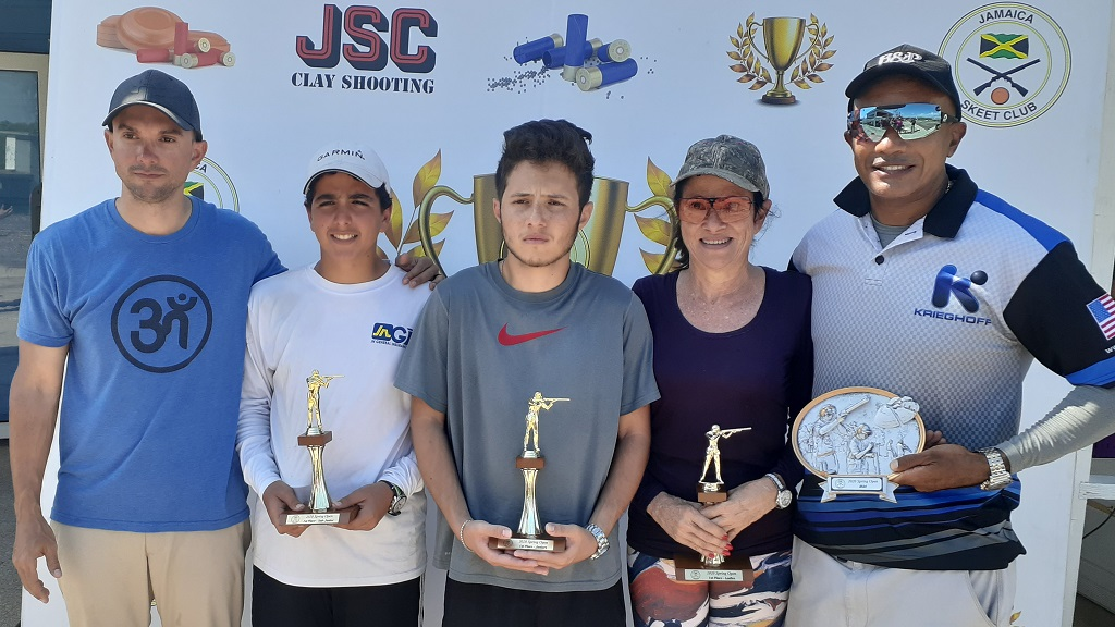 Top shooters in the Jamaica Skeet Club's Spring Open Sporting Clays Tournament celebrate their win. (From left): Jordan Samuda, Noah Azan, Peter Mahfood, Marguerite Harris, and Ray McMaster, the overall winner at the tournament held earlier this month at the Jamaica Skeet Club in Portmore.