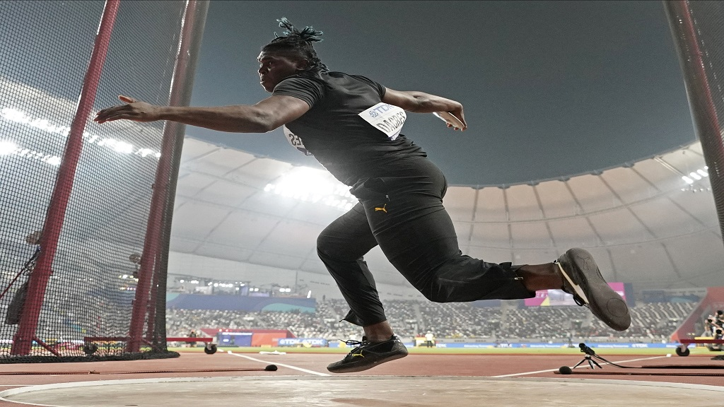 Fedrick Dacres, of Jamaica, competes in the men's discus throw final at the World Athletics Championships in Doha, Qatar, Monday, Sept. 30, 2019. (AP Photo/David J. Phillip).
