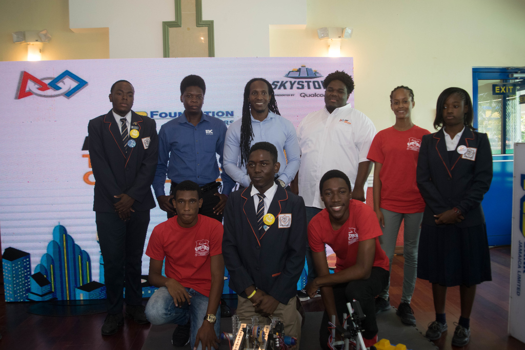 Participating students were joined by Janvo Aldred, Lead-Software Developer at MC Systems, Alando Terrelonge, State Minister of the Ministry of Education, Youth and Information, Gavin Samuels - Affiliate Partner Representative, FTC Jamaica at the FTC JA Robotics Championship launch held at the NCB Wellness & Recreation Centre recently.