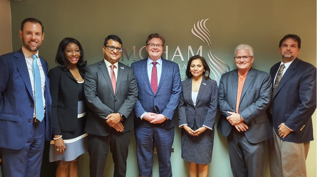 From Left to Right: Matt Ciesielski, AMCHAM T&T Director; Karrian Hepburn, AMCHAM T&T Director; Nirad Tewarie, AMCHAM T&T CEO;  Shawn Bennett, U.S. Deputy Assistant Secretary for Oil and Natural Gas, U.S. Energy Department; Patricia Ghany, AMCHAM T&T President; Nicholas Galt, AMCHAM T&T Director; and Stuart Franco, CEO, The T.S.L. Group.