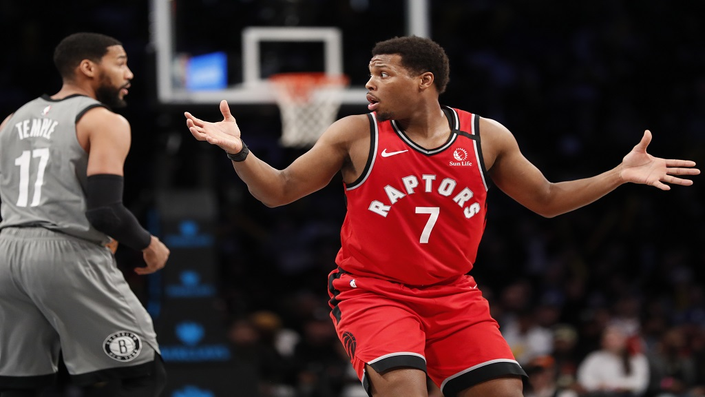 Toronto Raptors guard Kyle Lowry (7) reacts as he is called for a foul, his fourth, during the second half of an NBA basketball game against the Brooklyn Nets, Wednesday, Feb. 12, 2020, in New York. The Nets won 101-91. (AP Photo/Kathy Willens).