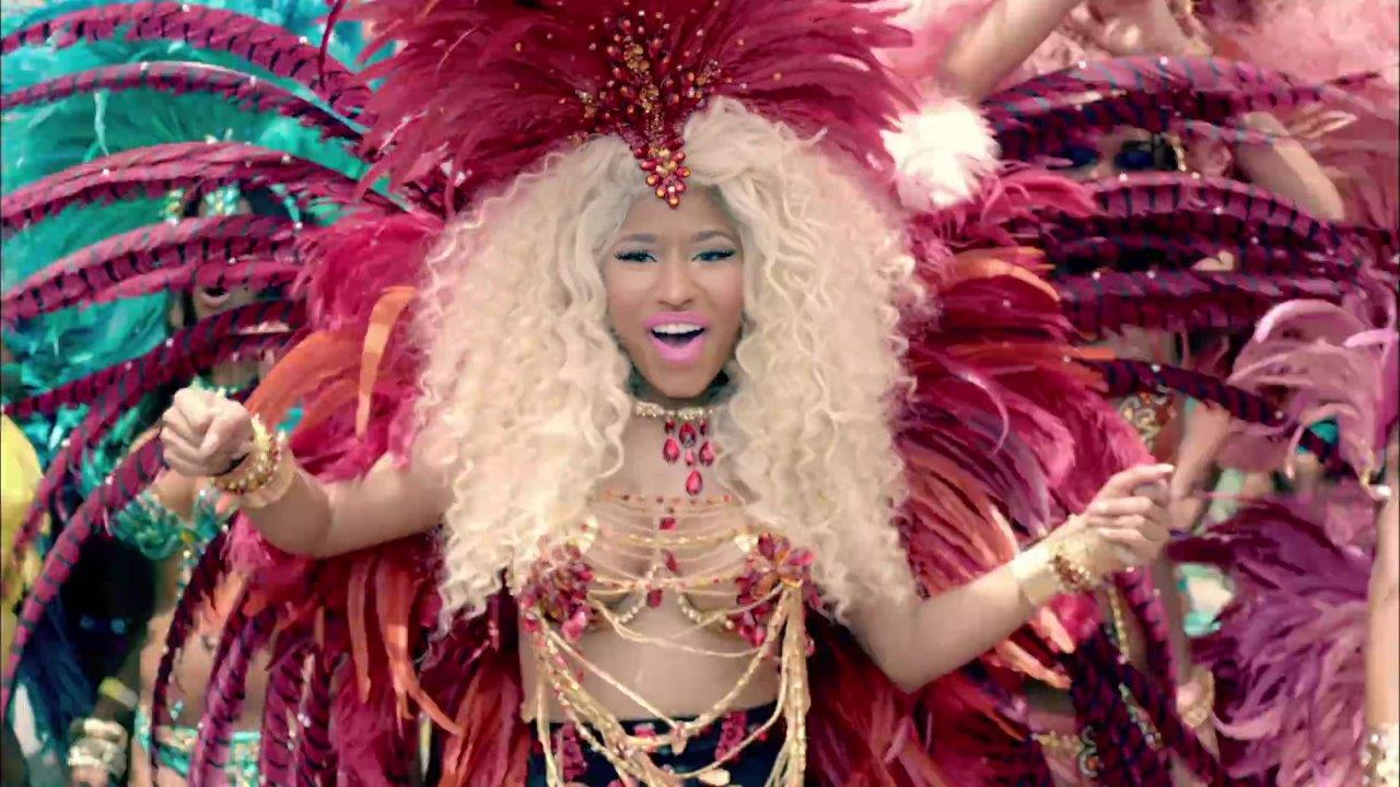 Nicki Minaj in a scene from her video Pound the Alarm, shot in T&T in 2012.