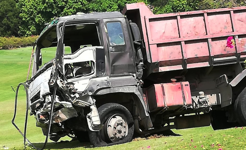 Truck involved in the accident along the Ronald Mapp Highway