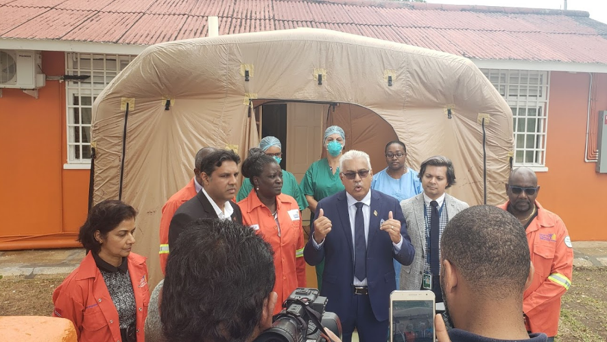 Flashback: Health Minister Terrence Deyalsingh addresses media on a tour of quarantine facilities at the Caura Hospital on February 7, 2020. Photo by Darlisa Ghouralal.
