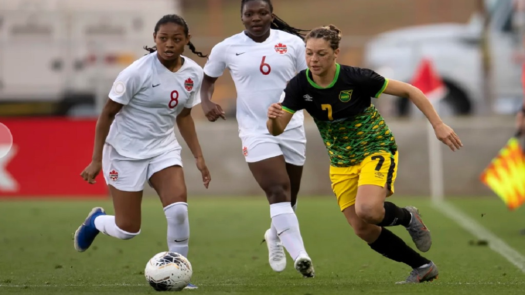 Action between Jamaica and Canada in Group B of the Concacaf Women's Olympic Qualifying Championship on February 1 2020, at HEB Park in Edinburg, Texas. (PHOTO: Concacaf).
