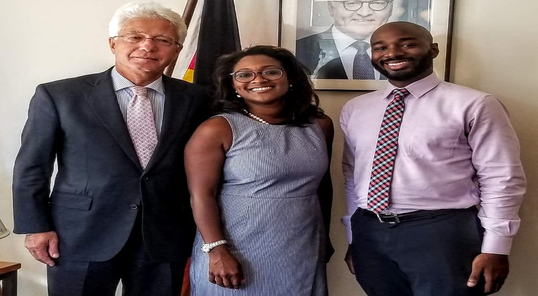 From left to right: Ambassador of the Federal Republic of Germany, Dr Bernd von Münchow-Pohl (left); Renee Robinson, Film Commissioner, Jampro (centre) and Tristan Alleyne, Senior Sales & Promotions Officer Film, Animation & Music, Jampro, at a recently held meeting at the Embassy of Germany.