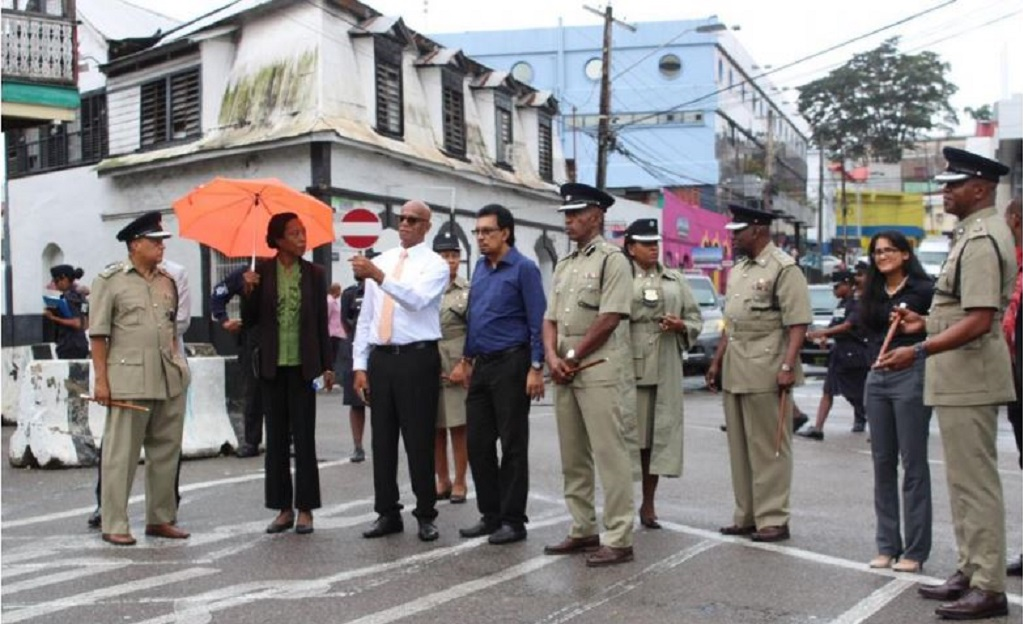 Minister of Rural Development and Local Government Kazim Hosein, San Fernando Mayor Junia Regrello, Permanent Secretary Desdra Bascombe, Assistant Commissioner of Municipal Police Brian Headley along with the 14 Municipal Police Commanders and Municipal Police Officers from various regions.