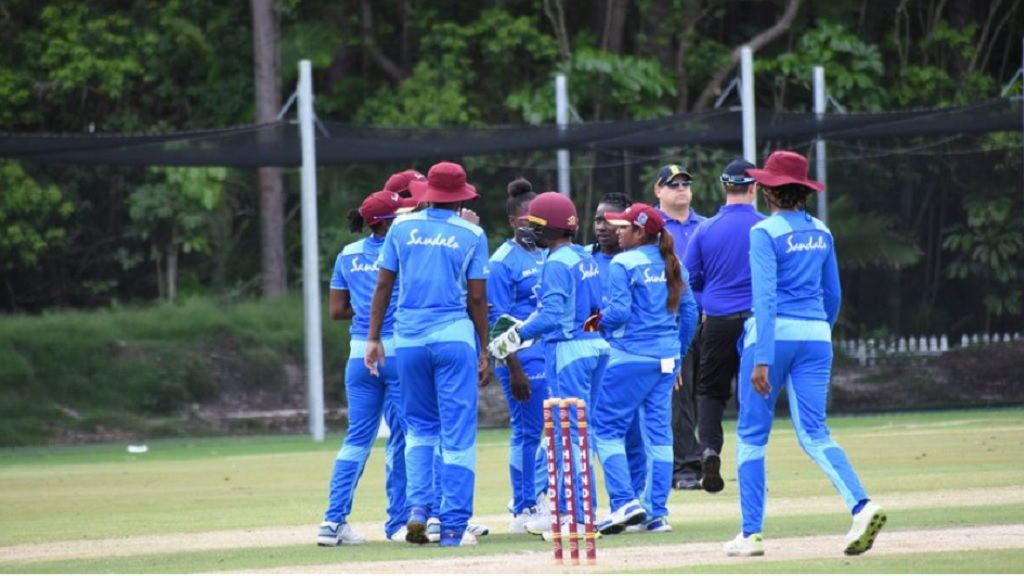 West Indies Women celebrate a wicket.
