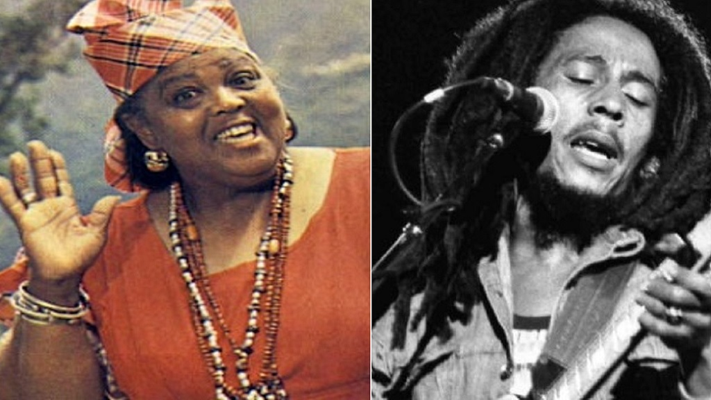 Louise Bennett-Coverley and Bob Marley