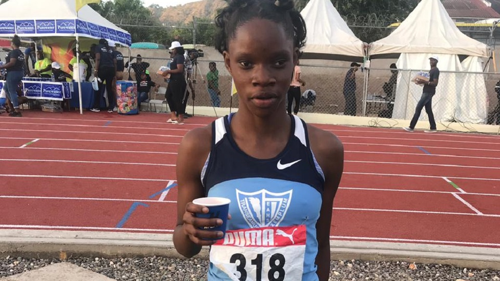 Edwin Allen's sprinter Tia Clayton following her 11.63 clocking in the Girls' Class 3 100m at the Jamaica College (JC) Invitational meet on Saturday, January 5 at the  newly constructed Ashenheim Stadium.