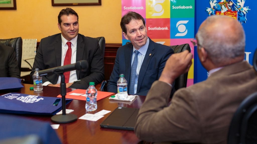 Pictured: Stephen Bagnarol - Senior Vice President and Managing Director, Scotiabank Trinidad and Tobago and Brendan King -  Senior Vice President, International Banking, Scotiabank chat with Pro Vice-Chancellor and Principal, Professor Brian Copeland, UWI St Augustine. Photo via Scotiabank.