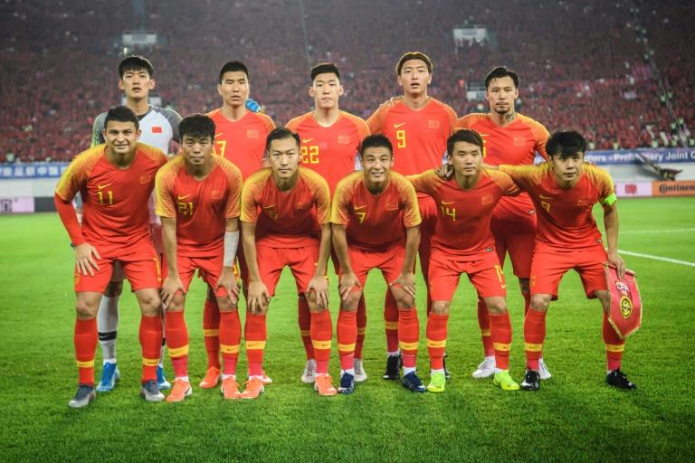 La sélection chinoise avant un match de qualification au Mondial-2022 contre Guam, le 10 octobre 2019 à Guangzhou