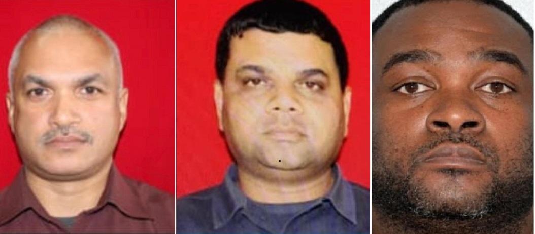 From left to right:  Ag Insp Rajesh Gookool, Ag Sgt Richard Lalbeharry, Matthew Ross
