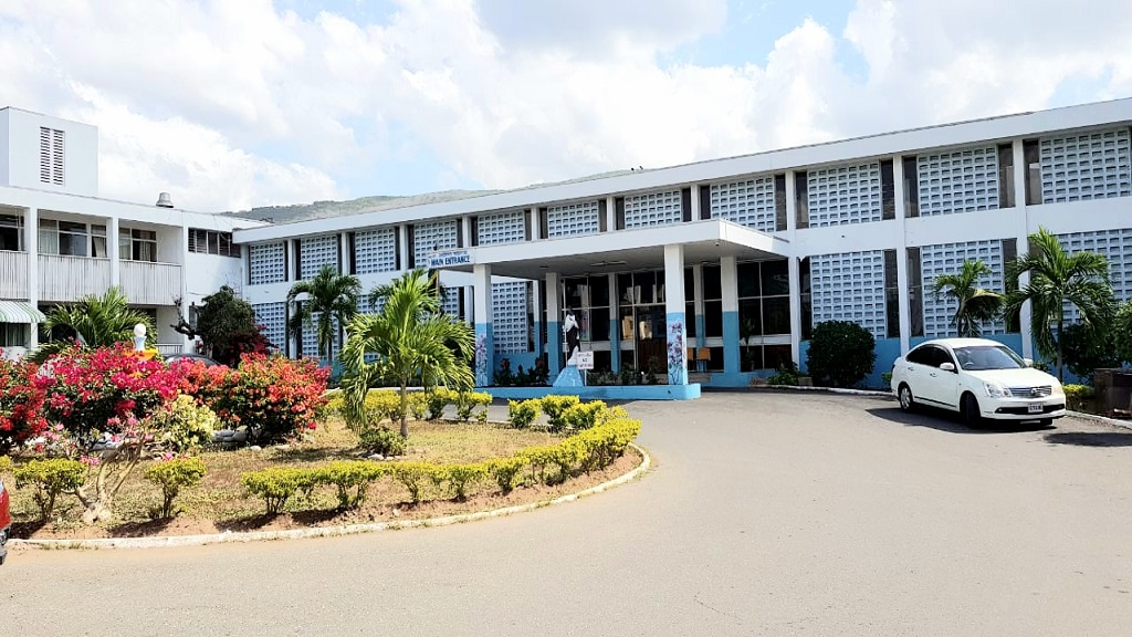 The main entrance to St Joseph's Hospital in Vineyard Town, St Andrew.