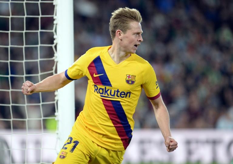 Le milieu néerlandais du Barça Frenkie De Jong buteur sur le terrain du Real Betis, le 9 février 2020 à Séville