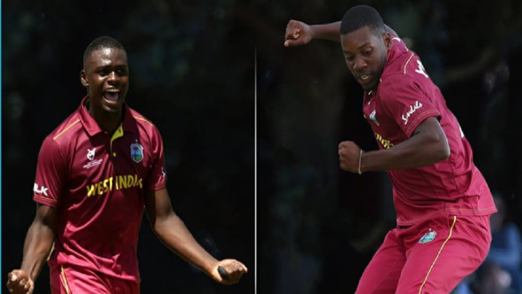 West Indies Under-19 fast bowler Jayden Seales (left) and allrounder Nyeem Young.