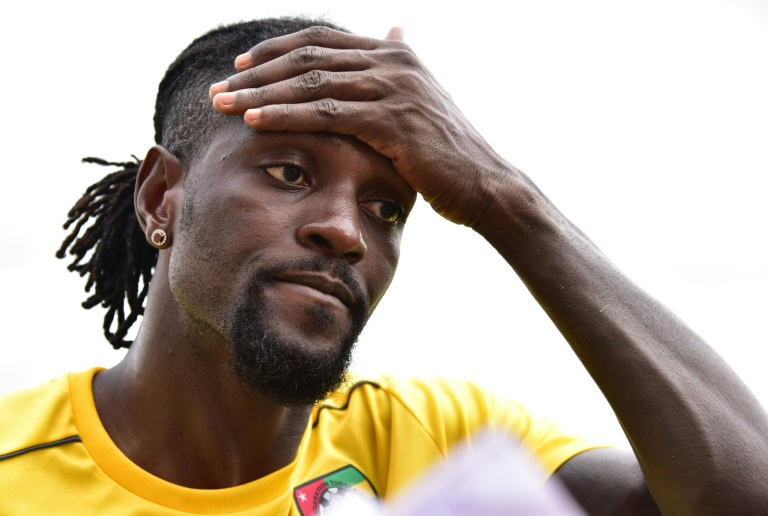 L'attaquant togolais Emmanuel Adebayor lors d'un entraînement avec sa sélection, le 18 janvier 2017 à Bitam au Gabon, lors de la CAN