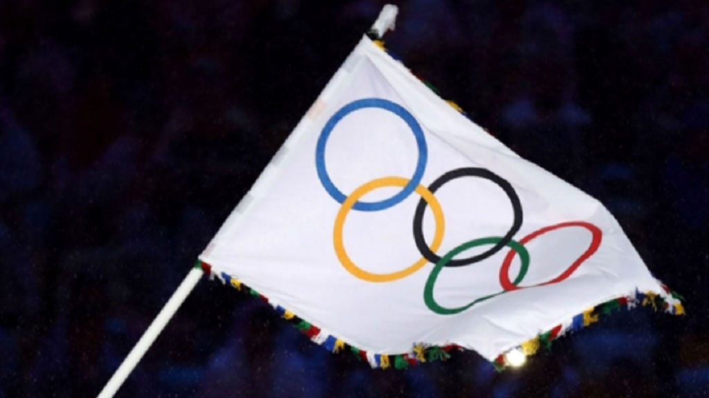 The Olympic flag.